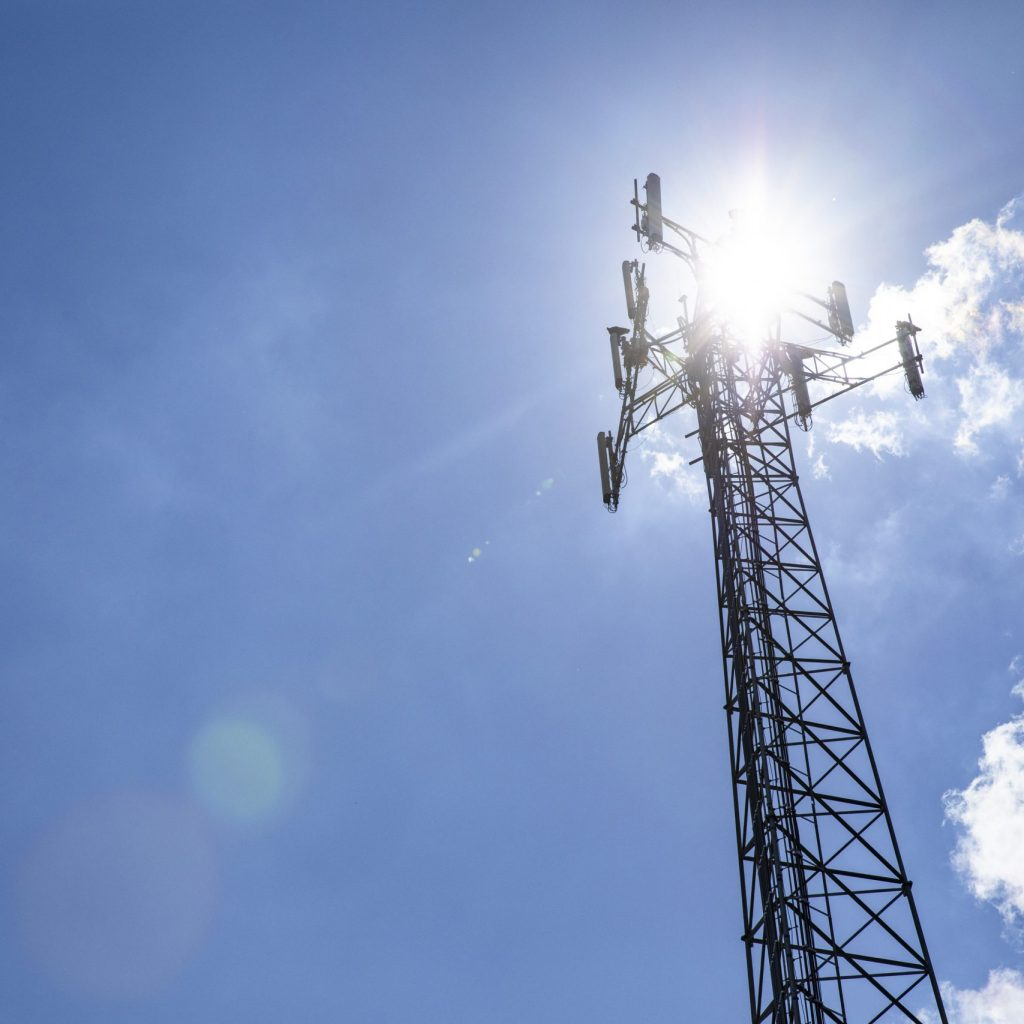 Cell phone towers reach to the sky