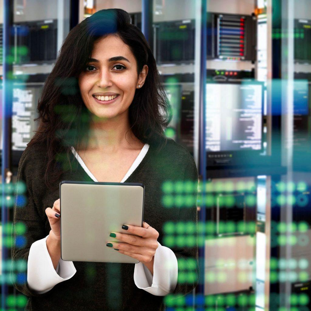 Female IT engineer in data center