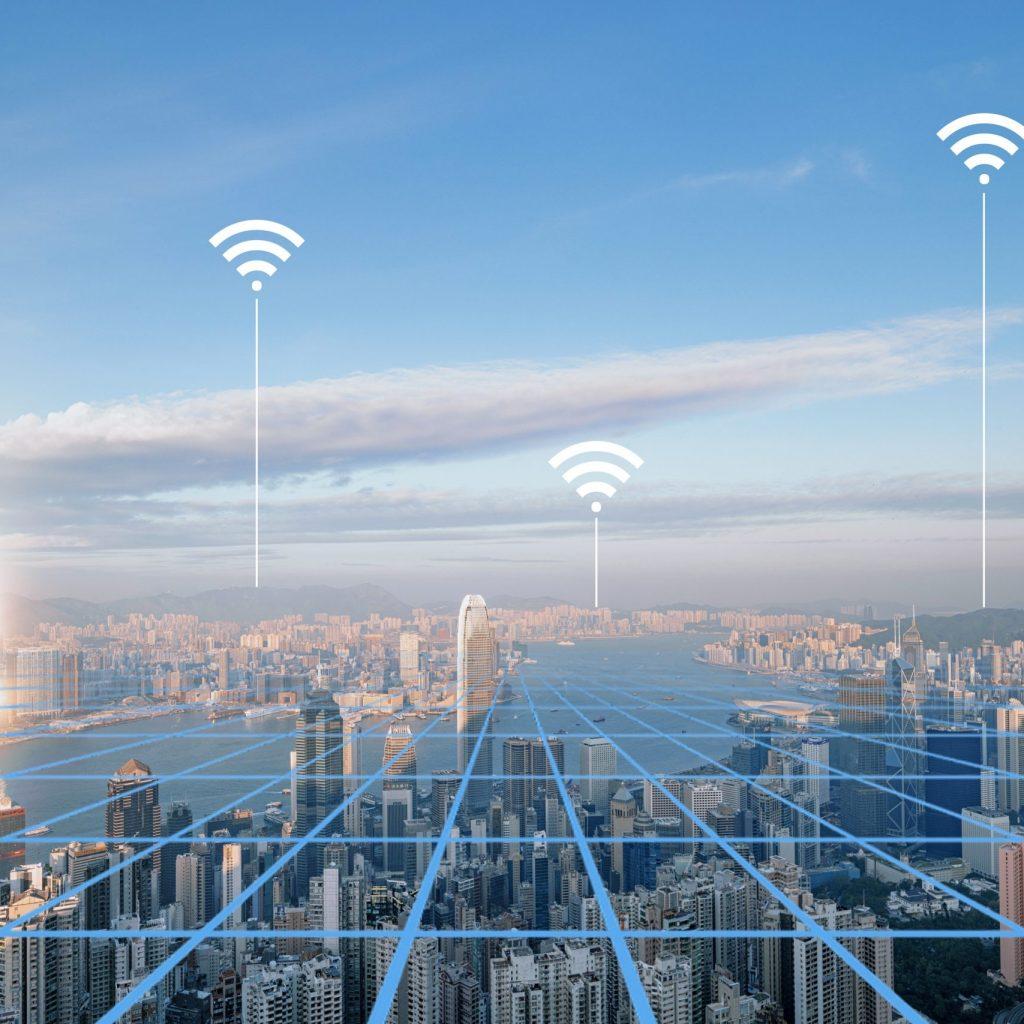 Aerial View of City Network of Hongkong Skyline